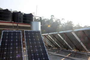 Electric solar & solar water panels to provide 24 hour lighting & hot water